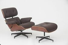 Eames Style Walnut Lounge Chair and Ottoman Set in Brown Top Grain Leather