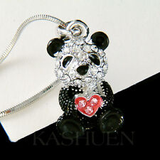w Swarovski Crystal ~Black White 3D PANDA BEAR Chinese China Pink Heart Necklace