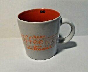 2011 Dunkin Donuts 14 oz Coffee Tea Mug Cup White Orange Cafe Words DD