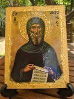 Greek Orthodox Icon of Saint Anthony Handmade 20x15 cm
