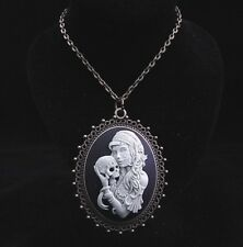 "24"" Vintage Style Gothic Sugar Skull Lady Cameo Pendant Necklace"
