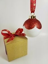 Scalloped Red Glitter Porcelain Ornament in Gift Box ~ Christmas Ball Bauble