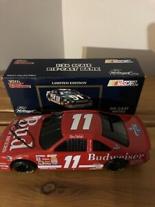 Bill Elliott Signed #11 Budweiser 1:24 Nascar Racing Champions Diecast Bank