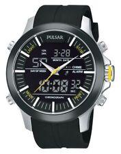 Pulsar Men's PW6001 Analog Digital World Time Alarm Chronograph Quartz Watch