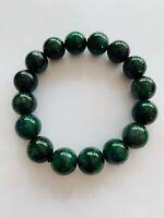 Certified Grade A Dark Green Emerald jadeite Jade beads bracelet,Beads Size:15mm