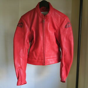Hein Gericke Red Thick Leather Motorcycle Racing Quality Padded Jacket 36 S M