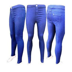 Ladies Womens Stretchy Denim Look Super Skinny Jeggings Leggings Plus Size 8-20