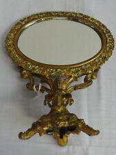 Antique Ornate Fancy Cast Iron Dresser Mirror Unusual Lady Figure Ca. 1890's