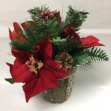 2 PCS Christmas Decor Artificial Poinsettia Flowers in Pine Pot Home Decors