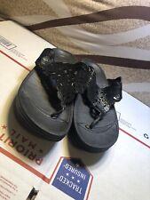 Womens Fit Flop Sandals Black Leather Strap Size 8 SUPER CLEAN L@@K!