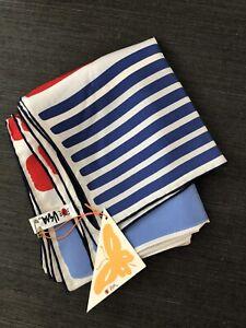 Dead Stock Vintage VERA Neumann Silk Scarf Red White Blue w/ Tags