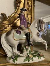 Grand Cavalier Cheval En Porcelaine Meissen 19ème