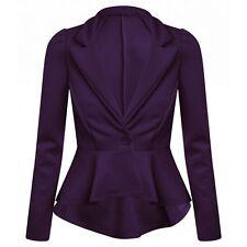Womens Ladies Frill Shift Tale Back Long Sleeve Peplum Blazer Jacket Coat Top