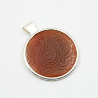 Round Sterling Silver 925 Framed Carved Carnelian Stone Jewelry Pendant