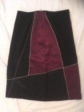 Aldofo Dominguez 40 W28 Designer Noir Bordeaux Satin Panneau Jupe utilisé très bon état
