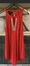 Inc International Concepts Red Beaded Halter Top S M