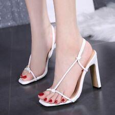 Summer Womens Strap Sandals Slip On High Block Heels Slingback Slippers Shoes