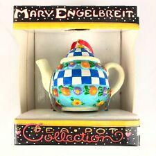 Mary Engelbreit Mini Miniature TeaPot Christmas Ornament Blue Checkers
