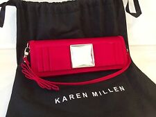 Karen Millen Red Satin Jewel Clutch Evening Occasion Handbag Bag & Dustbag