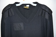 Citadel Sweater Acrylic V-Neck Military Black Elbow Patch Epaulets Men's XL