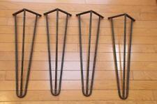 4 Mid Century Modern Wrought Iron Hairpin Table Legs Slight Angle Bracket 20 1/2