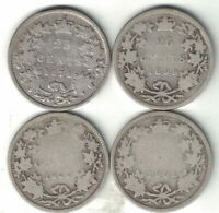 4 X CANADA 25 CENT QUARTERS VICTORIA STERLING SILVER COIN 1874H 1899 1900 1901