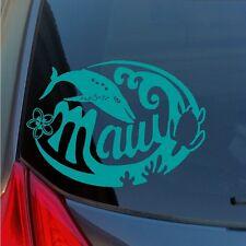 Maui vinyl sticker with humpback whale turtle plumeria lei flower waves coral HI