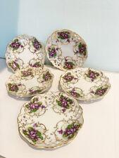 Vintage Set Of 5 Violet Flower Lattice Cut Out Small Side Porcelain Dishes
