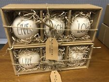 6 New RAE DUNN Christmas Tree Ornaments Black Large Letters LIVE LAUGH LOVE