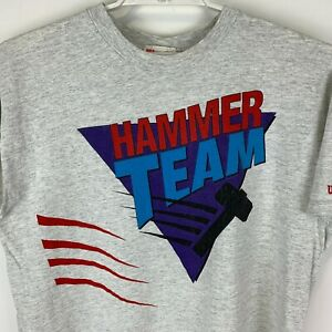 Vintage Wilson Tennis Hammer Team Large T Shirt Gray Made In USA Graphic Tee
