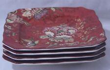 222 Fifth Gabrielle Red Floral Fine China Porcelain Salad Plates Set of Four New