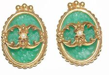 Vintage Judy Lee Spanish Moss Molded Green Glass Pearl Clip On Earrings