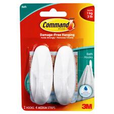 New Command Hooks Water Resistant Strips Bathroom 2 Bathhooks, 4 Medium Strip