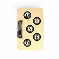 9.5'' x 6'' BINGO Hard Wooden BOARD Side Metal Clip Game Card Ticket Holder