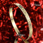18K 18CT YELLOW GOLD FILLED SLIP ON BANGLE LADY WOMENS BRACELET RHOMBUS PATTERN