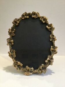 Antique Bronze Oval Picture Frame with Flowers