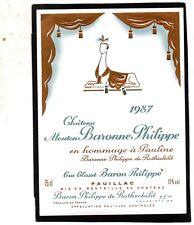 PAUILLAC GCC ETIQUETTE CHATEAU  MOUTON BARONNE PHILIPPE 1987 §07/03/18§