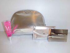 New Victoria's Secret 4 Pc Silver Beauty Kit Make Up Bag,Lip Gloss,Mirror Case