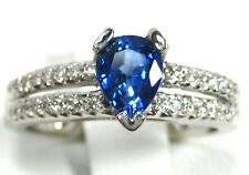 Blue Sapphire Ring 18K white gold Solitaire VS Natural Ceylon Heirloom $4,341