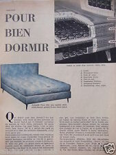 PUBLICITÉ 1958 TRÉCA MATELAS ET SOMMIER RITZ POUR BIEN DORMIR - ADVERTISING