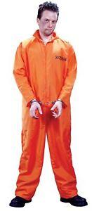 Got Busted Prisoner Suit Halloween Costume Convict Orange Adult Men Standard