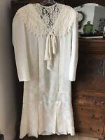 VTG Dress Scott McClintock Size 10 Jacquard Beautiful Off White Gatsby Dp Waist