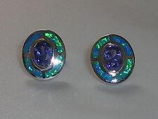 ART Deco Donna Argento Sterling 925 Opale & Tanzanite bersaglio Design Orecchini