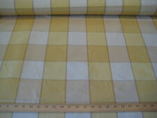 "Ivory/Gold/Beige 3 1/2"" Checks 100% Silk Taffeta Fabric 54"" Wide BTY"