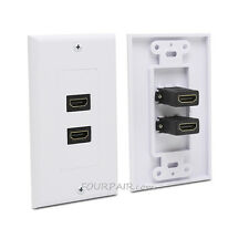 10 Pack Lot - 2-Port HDMI 1.4 Wall Face Plate Panel Outlet Extender1080P - White