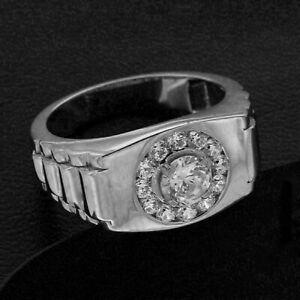 Men's Channel Set Engagement Wedding Halo Ring 14K White Gold 2.66 Ct Diamond