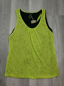 prAna Performance Mika Top Wild Lime Green & Black size XL NWT