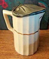Antique Art Nouveau Ceramic Pewter Lidded Pouring Jug Cream w/Gold Leaf Trim VGC