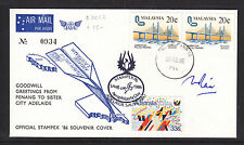 AEROPHILATELY DAY STAMPEX 86 SOUVENIR COVER  MALAYSIA AUSTRALIA SIGNED.