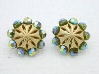 VTG RARE CROWN TRIFARI Gold Tone Green Aurora Borealis Crystal Clip Earrings